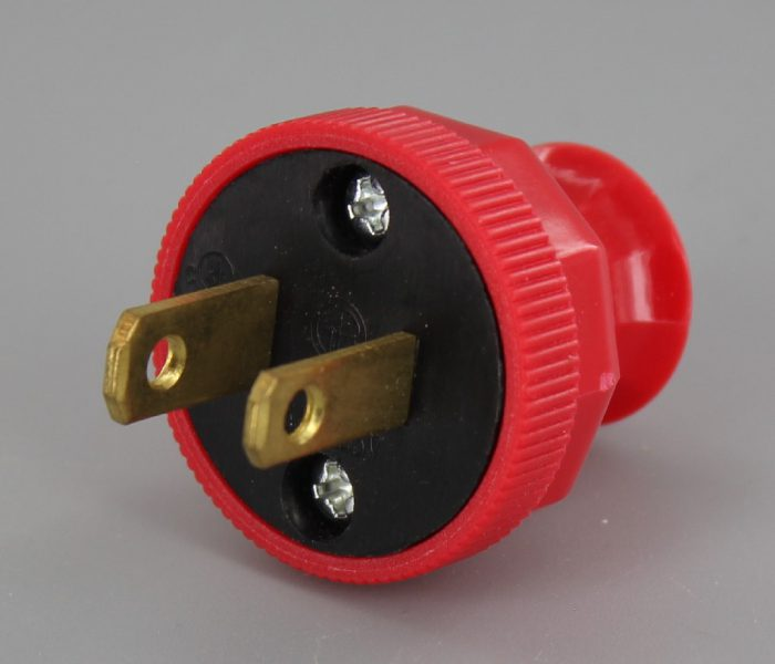 RED GRAND BRASS DESIGN ANTIQUE REPRODUCTION POLARIZED LAMP PLUG WITH SCREW TERMINAL CONNECTION