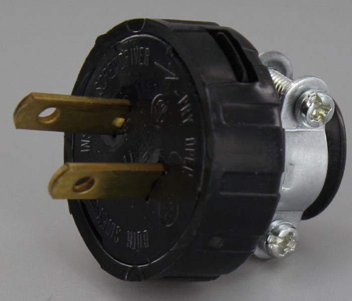 BLACK LAMP PLUG WITH SCREW TERMINALS AND CLAMP FOR 18/2 SVT AND SJT TYPE WIRE