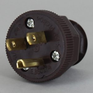 BROWN ANTIQUE STYLE DECORATIVE GROUNDED PLUG WITH SCREW TERMINAL WIRE CONNECTIONS